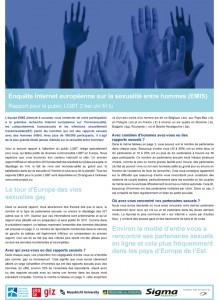 Enquête Internet européenne sur la sexualité entre hommes (EMIS)  : rapport pour le public LGBT no 2, juillet 2011